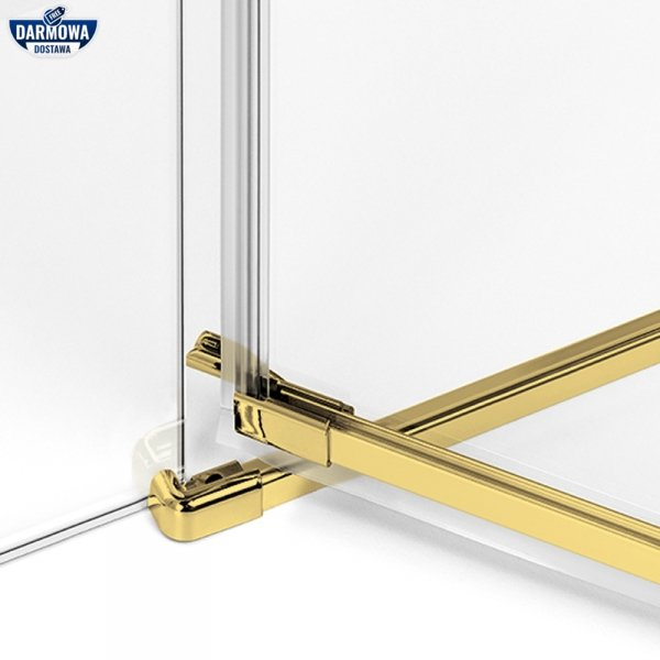 NEW TRENDY - Kabina prysznicowa prostokątna podwójne drzwi uchylne AVEXA GOLD EXK-1777 Złote Profile 80x90x200 LINIA PLATINIUM