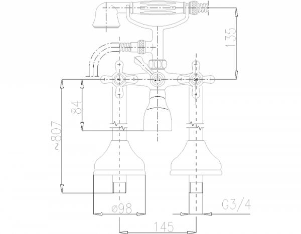 ARMATURA KRAKÓW - Retro Bateria wannowa stojąca 375-140-00