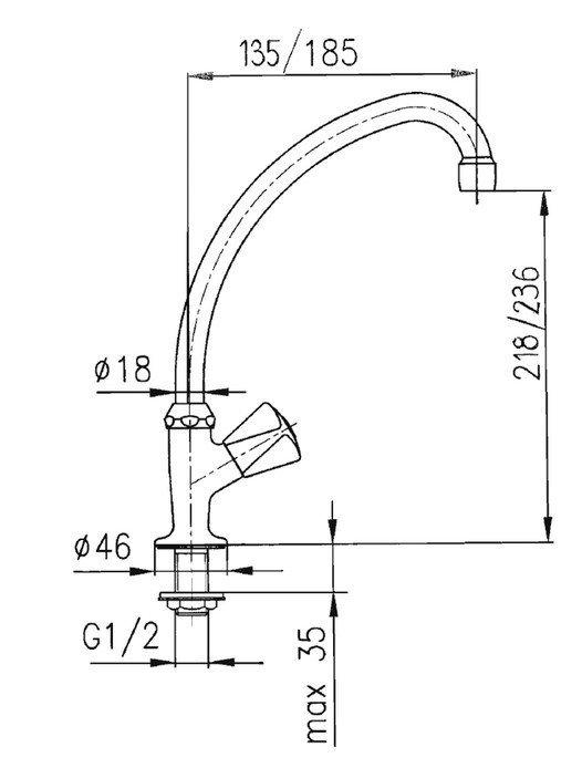 ARMATURA KRAKÓW - Zawór wodny, wypływowy umywalkowy stojący 211-110-00