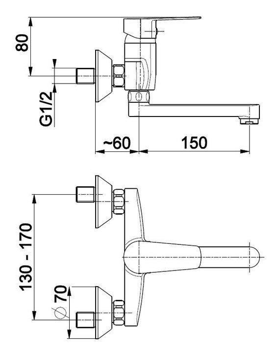 ARMATURA KRAKÓW -  Bateria jednouchwytowa, umywalkowa ścienna SOFIT 5110-810-00
