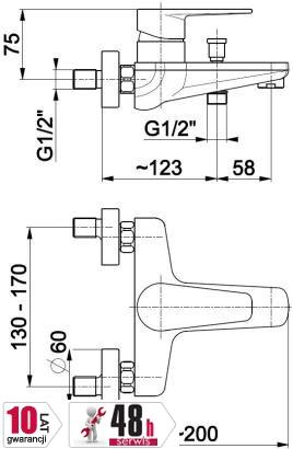 ARMATURA KRAKÓW - HALIT bateria wannowa 4824-010-00