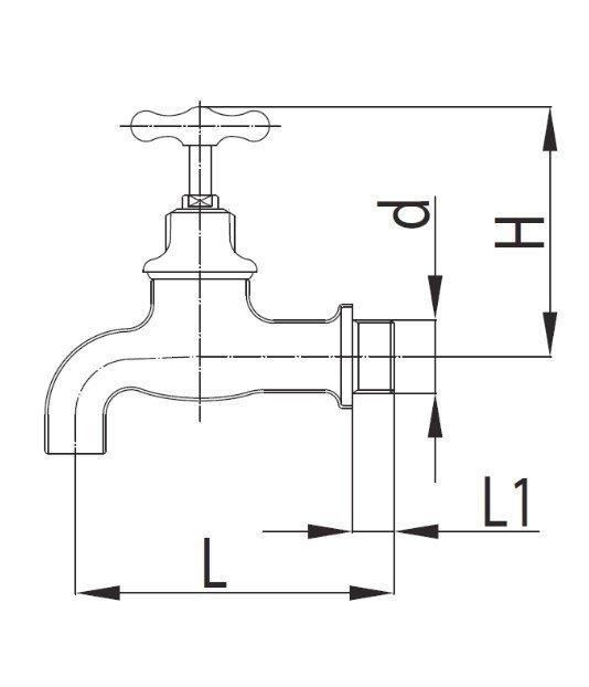 ARMATURA KRAKÓW - Zawór wodny, wypływowy 1/2 z rozetą 100-312-00