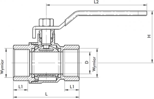 ARMATURA KRAKÓW - zawór wodny, pełnoprzepływowy, nakrętno-nakrętny z dławikiem 700-110-65