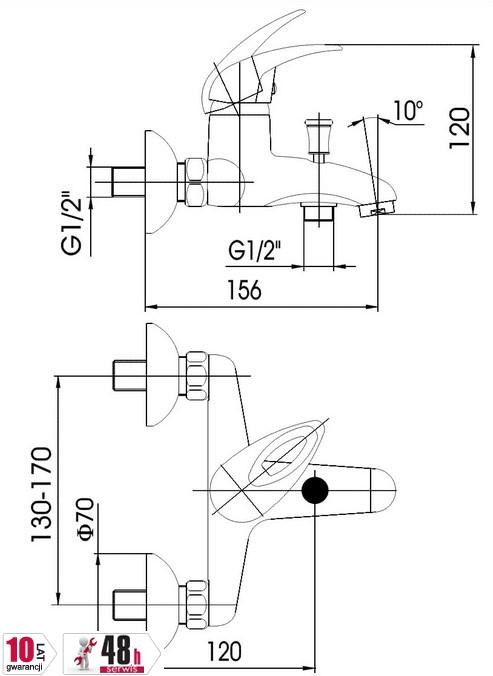 ARMATURA KRAKÓW - Bateria jednouchwytowa wannowa JASPIS 544-010-00