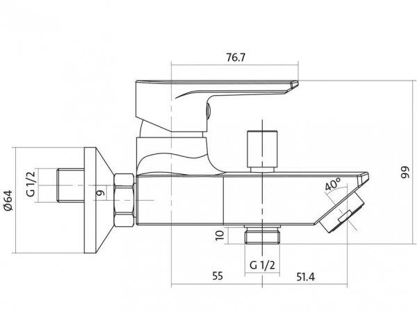 CERSANIT - Bateria wannowo-natryskowa ścienna z przełącznikiem VERO Solution S951-004