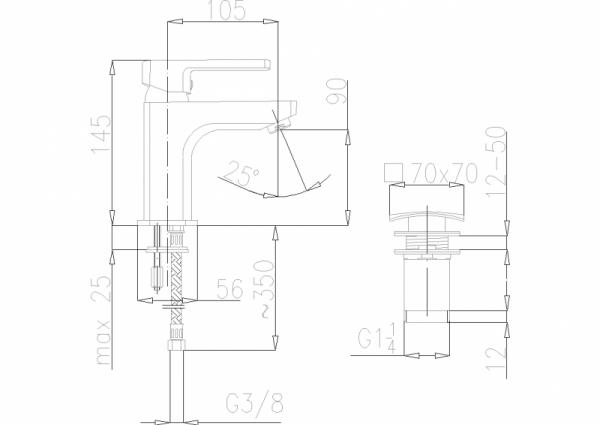 ARMATURA KRAKÓW - Korund Bateria umywalkowa stojąca z zaworkami 4002-811-00