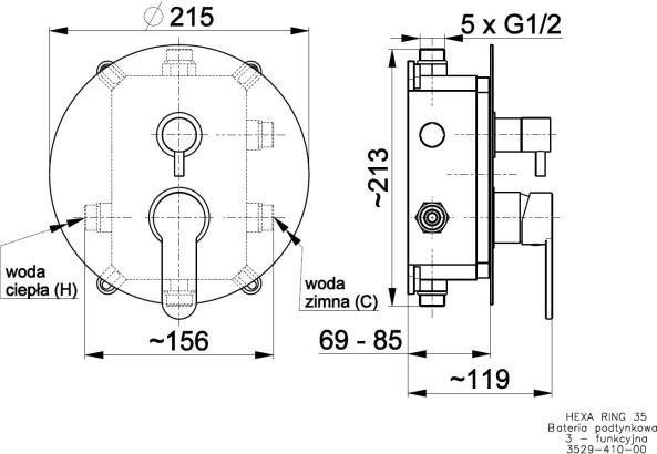ARMATURA KRAKÓW - HEXA Bateria podtynkowa 3 drożna Ring 35 3529-410-00