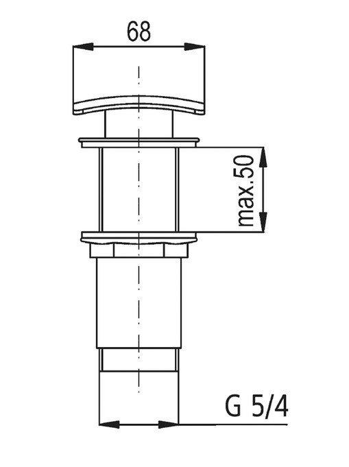 ARMATURA KRAKÓW - Korek spust klik-klak mosiądz kwadratowy 660-454-00