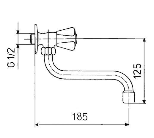 ARMATURA KRAKÓW - Zawór wodny, wypływowy zlewozmywakowy  220-410-00