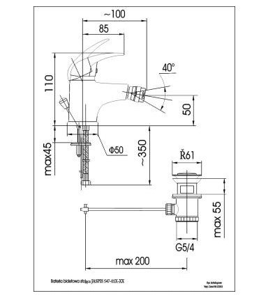 ARMATURA KRAKÓW - Bateria bidetowa JASPIS 547-015-00