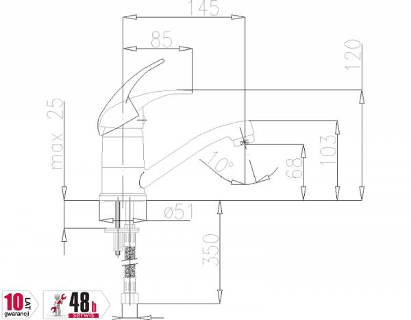 ARMATURA KRAKÓW - Piryt Bateria umywalkowa obrotowa 442-945-00