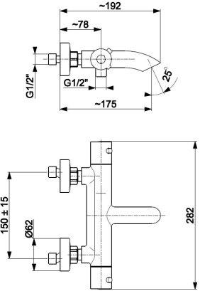 ARMATURA KRAKÓW KFA Bateria wannowa ścienna termostatyczna MOZA BLACK 5734-010-81