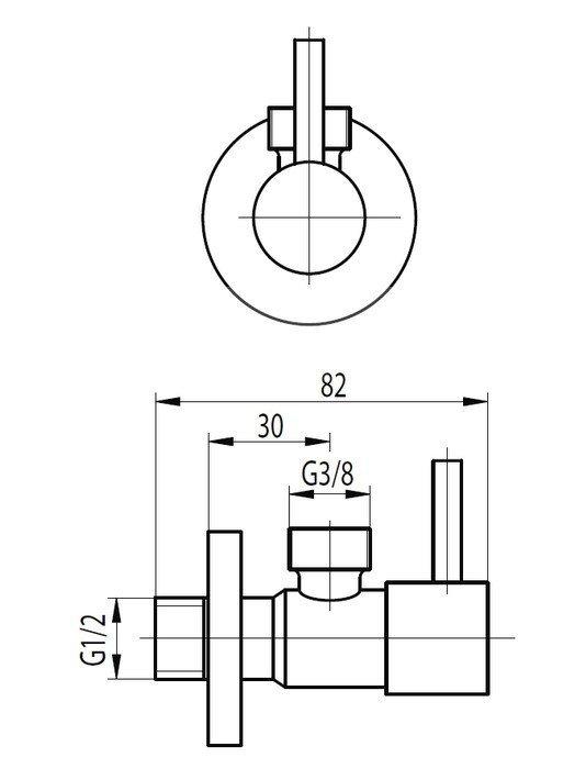"""ARMATURA KRAKÓW - Zawór wodny kątowy, przepływowy do baterii stojących uchwyt typu """"belka"""" 244-010-00"""