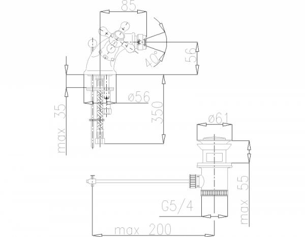 ARMATURA KRAKÓW - Retro Classic Bateria bidetowa 387-325-00