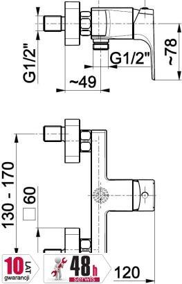 ARMATURA KRAKÓW - MOKAIT bateria natryskowa 5536-010-00