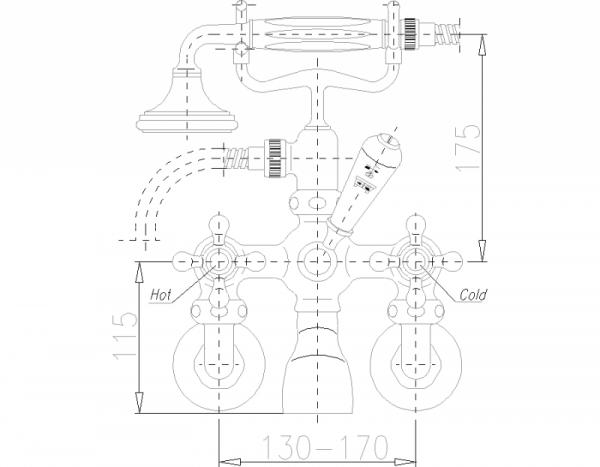 ARMATURA KRAKÓW - Retro Classic bateria wannowa ścienna 384-120-00