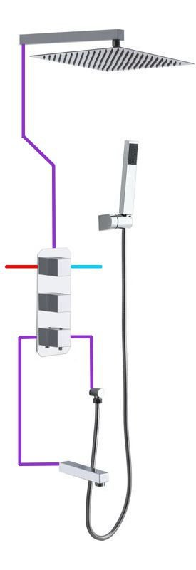 BW TECH - Zestaw natryskowy podtynkowy TRYTON chrom Ultra Slim z wylewką wannową i baterią termostatyczną