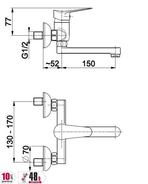 ARMATURA KRAKÓW - Bateria umywalkowa, jednouchwytowa ścienna LEONIT 5310-810-00