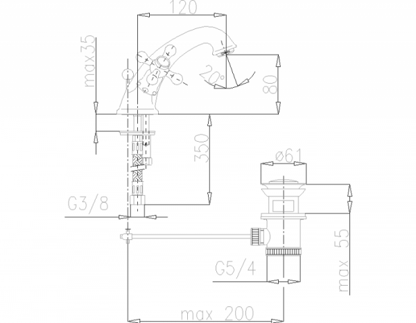 ARMATURA KRAKÓW - Retro Bateria umywalkowa stojąca 372-845-00