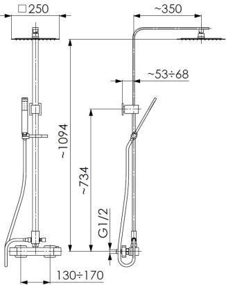ARMATURA KRAKÓW - deszczownia CASSINI z baterią termostatyczną 5726-910-00