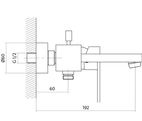 CERSANIT - Bateria wannowo-natryskowa ścienna z przełącznikiem ELIO Solution S951-007