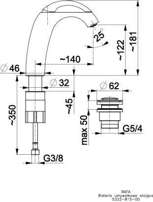ARMATURA KRAKÓW - RAFA bateria umywalkowa solo 5322-815-00