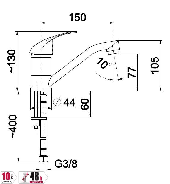 ARMATURA KRAKÓW - Bateria jednouchwytowa umywalkowa JASPIS 542-915-00