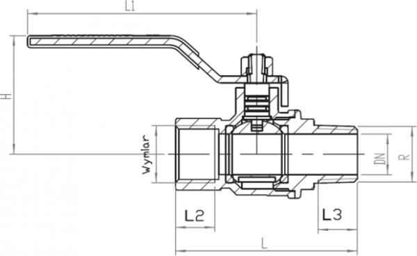 ARMATURA KRAKÓW - kurek kulowy do gazu, nakrętno-wkrętny z dźwignią  730-210-25