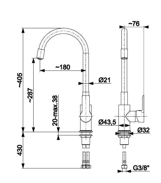 ARMATURA KRAKÓW- Bateria RUMBA zlewozmywakowa  z elastyczna wylewką 6553-915-00