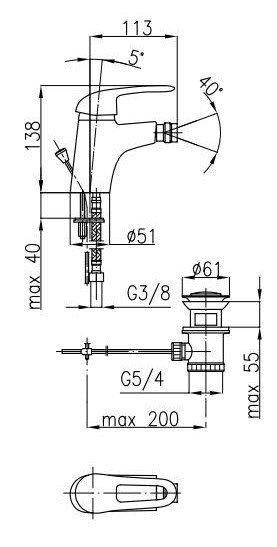 ARMATURA KRAKÓW - Bateria bidetowa INES 4507-025-00