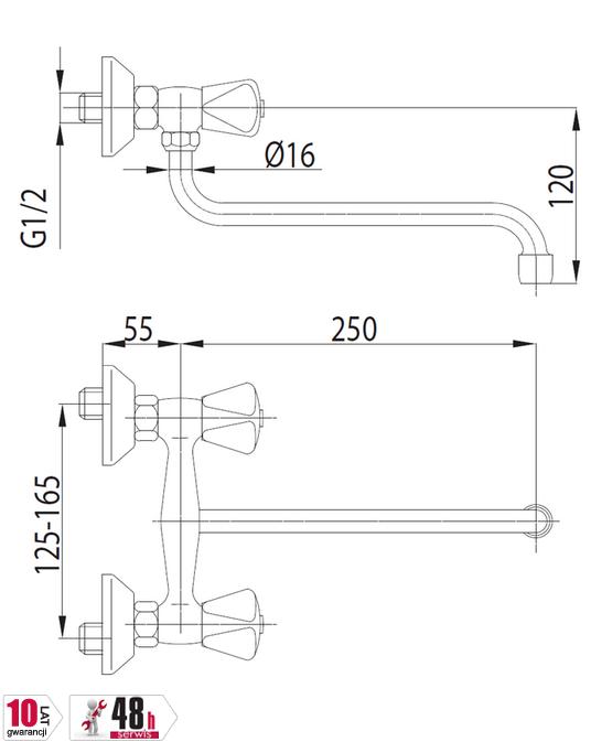 ARMATURA KRAKÓW - STANDARD bateria zlewozmywakowa dwuuchwytowa 300-610-00