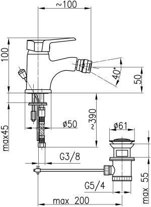 ARMATURA KRAKÓW - BERYL bateria bidetowa 4807-015-00
