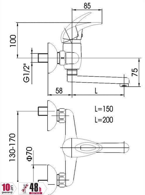 ARMATURA KRAKÓW - Bateria jednouchwytowa zlewozmywakowa ścienna JASPIS 540-910-00
