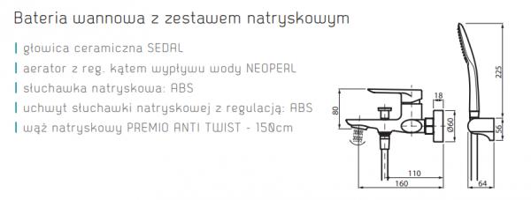 VEDO Bateria wannowa z zest. natr. ALETTA NERO / Nr KAT: VBA5006/S/CZ