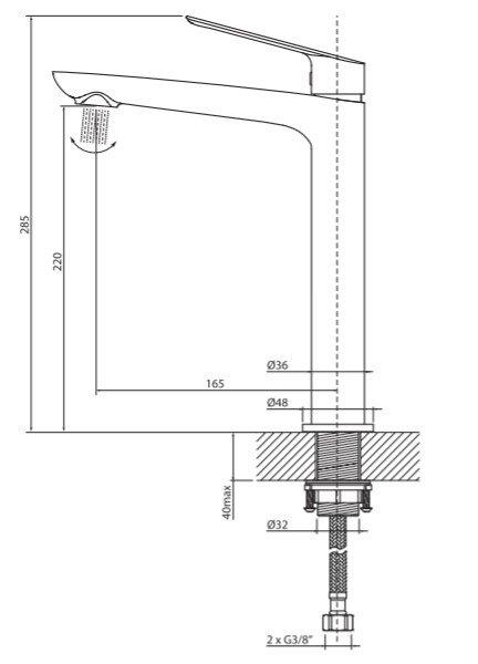 VEDO - Bateria DESSO umywalkowa wysoka VBD4003
