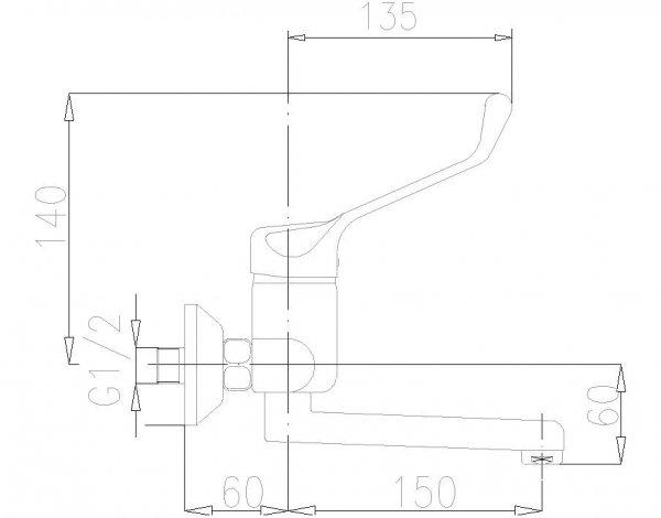 ARMATURA KRAKÓW - Bateria łokciowa jednouchwytowa umywalkowa ścienna 470-880-00