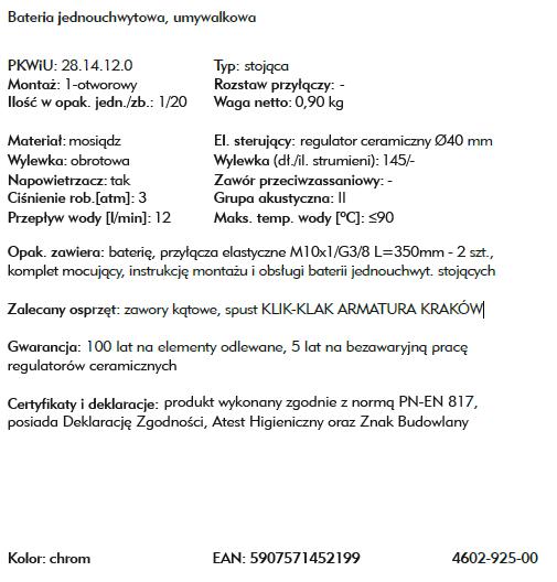 ARMATURA KRAKÓW bateria bidetowa ATRIA 4607-025-00