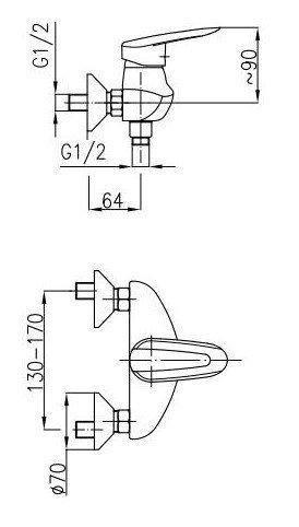 ARMATURA KRAKÓW - Bateria natryskowa INES 4506-020-00