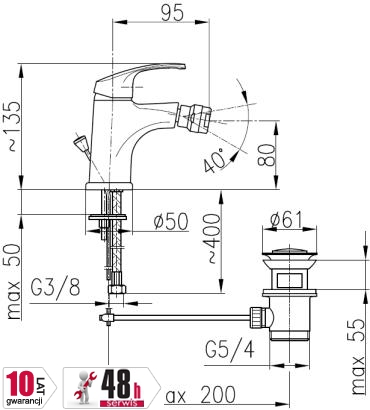 ARMATURA KRAKÓW - Bateria bidetowa KRZEM 4217-015-00