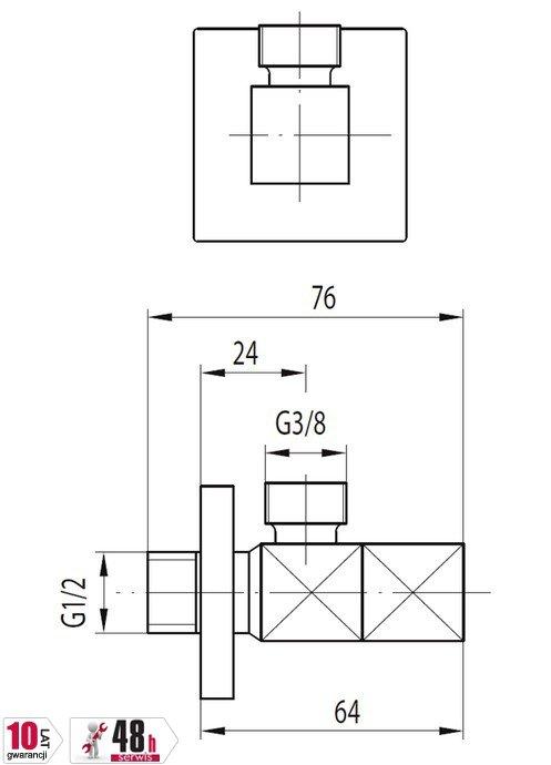 """ARMATURA KRAKÓW - Zawór wodny kątowy przepływowy do baterii stojącyc uchwyt typu """"kwadrat"""" 244-020-00"""