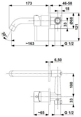 ARMATURA KRAKÓW KFA Bateria umywalkowa podtynkowa MOZA BLACK 5039-810-81