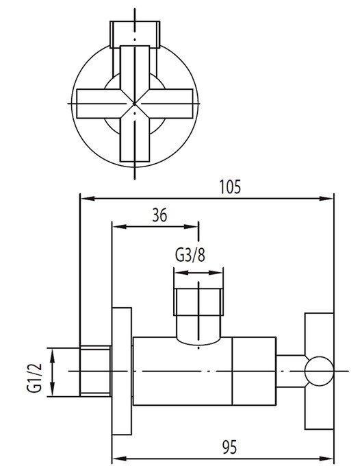 """ARMATURA KRAKÓW - Zawór wodny kątowy przepływowy do baterii stojących uchwyt typu """"symetric""""  244-030-00"""