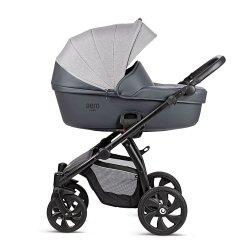 AERO TUTIS Reflecitve| Anthrazitgrau Eco Leder | Kombi-Kinderwagen 2 in 1 mit Liegewanne und Sportwagen | oder 3 in 1 mit Autoschale | Eco Leder