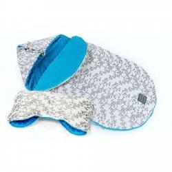 Winterpack Minky FLOO: Fußsack & Handwärmer | antiallergen & atmungsaktiv | Vergissmeinnicht | Anthrazit/Weiß | Minky Blau