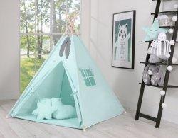 7-tlg. MEGA SET: Tipi/Teepee Zelt mit Spieldecke, 3 dekorativen Kissen und 2 Schmuckfedern | 100% Baumwolle | Spielzelt | Kinderzelt | Indianerzelt | Mintgrün