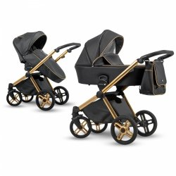 Kombikinderwagen EMOTION XT | XTE 01 Black Eco Leder | Alu Gestell in Gold
