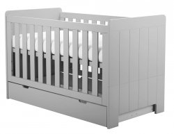 4 in 1 SET | CAROLE Babybett / Kinderbett mit Bettschublade, Lattenrost und Seitenteil | 70 x 140 cm | grau