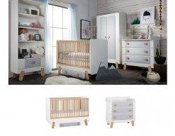 DOTTY Babyzimmer / Kinderzimmer Sparset | 2-teilig | Kinderbett + Wickelkommode | weiß/grau