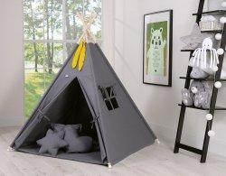 7-tlg. MEGA SET: Tipi/Teepee Zelt mit Spieldecke, 3 dekorativen Kissen und 2 Schmuckfedern | 100% Baumwolle | Spielzelt | Kinderzelt | Indianerzelt | Dunkelgrau