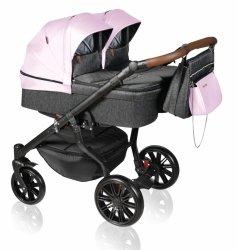 Zwillingskinderwagen/ Geschwisterwagen TWIN Quick | Gestell in Schwarz mit Comfort+ Räder | Hellrosa